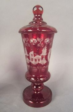 Cranberry Bohemian Cut to Clear Glass Covered Garniture Vase