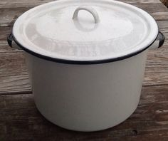 Large Vintage White Enamelware Stock Pot