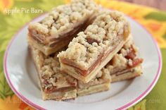 Apple pie bars - cinnamon flavored bars with a buttery crust, apple slices, custard and streusel topping