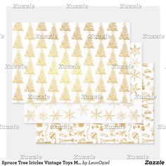 Shop Spruce Tree Icicles Vintage Toys Metallic Gold Foil Wrapping Paper Sheets created by LeonOziel. Metallic Gold, Gold Foil, Silver, Spruce Tree, Foil Paper, Paper Crafts, Diy Crafts, Creative Gifts, Vintage Toys