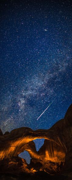 Double Arch in Arches National Park during the Perseid Meteor Shower, Utah