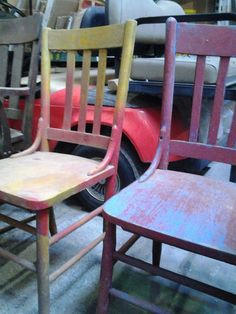 Chairs, Painted, Wood