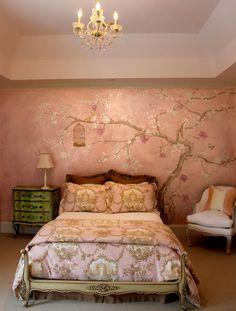 Positive Space - Children's Murals, japanese tree cherry blossom mural, pink, bird, birdcage