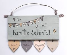 ** NEW DESIGN ** ** Shabby door sign wood (spruce 19 mm) with .- **♥NEUEs DESIGN ♥** **Shabby Türschild Holz (Fichte 19 mm) mit Namensanhän… ** ♥ NEW DESIGN ♥ ** ** Shabby door sign wood (spruce 19 mm) with name tags in heart shape and your surname and Wooden Door Design, Wooden Doors, Wooden Signs, Shabby, Personalized Wedding Gifts, Door Signs, Diy And Crafts, Etsy, Hand Painted