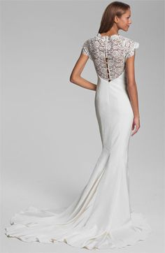 Nicole Miller Lace Yoke Satin & Charmeuse Mermaid Gown | Nordstrom