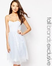 True Decadence Tall Cami Strap Midi Prom Dress With Tulle Skirt