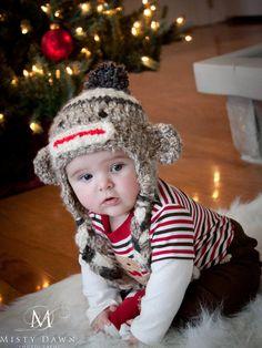 Crochet Sock Monkey Hat #crochet #baby