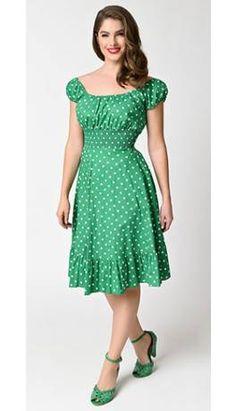 1940s Style Kelly Green & White Dot Cap Sleeve Peasant Swing Dress