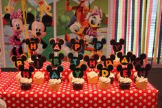 Mickey Mouse Clubhouse Birthday Party--cupcakes; Happy Birthday Hayden!