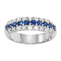 Deep blue sapphire anniversary diamond band
