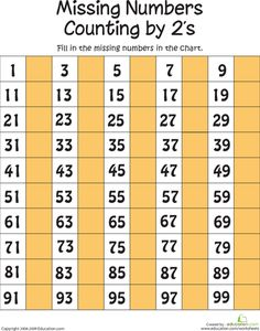 Worksheets: Missing Numbers: Counting by Twos Missing Number Worksheets, First Grade Math Worksheets, Free Kindergarten Worksheets, Worksheets For Kids, Printable Worksheets, Kindergarten Math, Preschool, Number Grid, Counting To 100