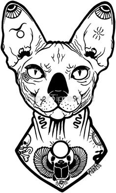 'sphynx tattooed' Sticker by PaperTigressArt - sphynx tattooed by PaperTigressArt Best Picture For tattoo old school For Your Taste You are look - Tattoo Design Drawings, Tattoo Sketches, Art Sketches, Sphinx Tattoo, Cat Tattoo, Tattoo Flash Art, Sphynx Cat, Cat Drawing, Trendy Tattoos