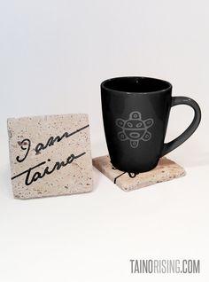 I Am Taino Stone Drink Coaster Set for Coffee Mug, Drinking Glass Bottle Puerto Rico Island Isla Borinquen Indio Orgullo Boricua Fathers Day