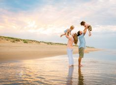 Beautiful sunset beach photo of a family with twin toddlers. Family photography inspiration, summer photo session by Melissa Bliss Photography serving Virginia Beach, Norfolk, Portsmouth, Chesapeake, Sandbridge and surrounding areas of Hampton Roads, VA. Fun, lifestyle, candid family photography.