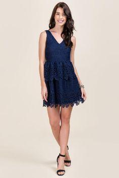 Jeslyn Scalloped Lace Dress- Navy model