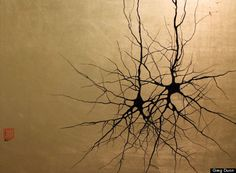 """Artist: Greg Dunn,   """"Two Pyramidals.""""   Enamel on composition gold leaf.   18"""" X 24""""   2009.   Commissioned by the Center of the Neural Basis of Cognition, Carnegie Mellon University.   Pyramidal cells are a type of neuron found in the brain that integrate information received from their dendrites (branching at the bottom of the cell), process it, and transmit it to other cells through its axon (large branch emerging from the cell going upwards)."""