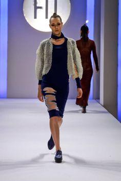 Ida Lamberton - Glow-in-the dark plastic and leather jacket, intarsia dress