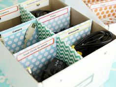 Make your own dividers with cardboard and add into a box or shoebox. Label stickers and you'll have a place for all your cords or what nots.  G;)