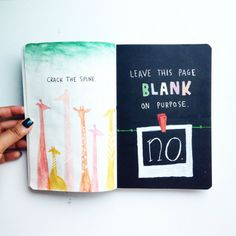 """poseidhn:  I finished the """"crack the spine"""" and """"Leave this page blank on purpose"""" pages of my Wreck This Journal! Giraffes have the longest spines and Polaroids are always blank at first! What do you guys think?"""