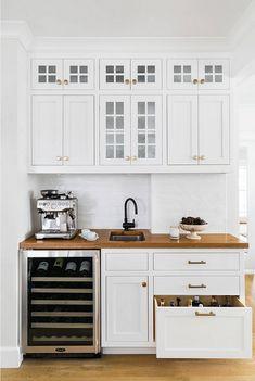 Wet Bar Kitchen Wet Bar Combination wet bar and coffee bar Bottom drawer is sized for bottles #wetbar #coffeebar