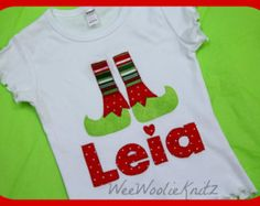 Personalized Christmas Girls or Boys Elf T Shirt  Bodysuit Elf Boots Baby  Applique Bib Custom Monogrammed