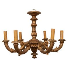 Six Light Baroque Style Gilt Wood Chandelier | From a unique collection of antique and modern chandeliers and pendants  at https://www.1stdibs.com/furniture/lighting/chandeliers-pendant-lights/