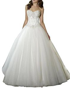 DLFASHION Womens Sweetheart Ball Gown Appliqued Organza Wedding Dress Size 16 White -- Read more  at the image link.