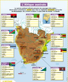 Fiche exposés : L'Afrique australe Study French, Learn French, French Alphabet, Word Map, French Teacher, French Class, Geography Map, French Education, History Activities