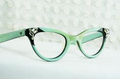 50s Cat Eye Glasses 1960's Rhinestone Eyeglasses Turquoise Black Layered Zyl Petite 42/22 NOS Optical Frame. $104.00, via Etsy.