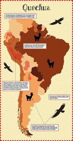 Una mapa sobre el idioma Quechua. Para ayudar tu entiendes donde los personas hablan el idioma.