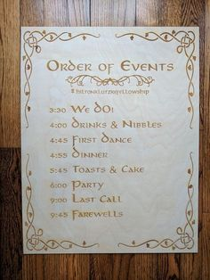 Here is a special, Custom order of events sign for your wedding! The design is inspired and made especially for a friends Lord of the Rings wedding. This wedding program sign is the perfect way to tell guests about the order of your events! Instead of printing out multiple programs, this sign can be repurposed from ceremony, to cocktail hour, to reception. It is available in 4 different sizes to best suite your needs. The design is laser engraved in so it will be perfect every time. Size…