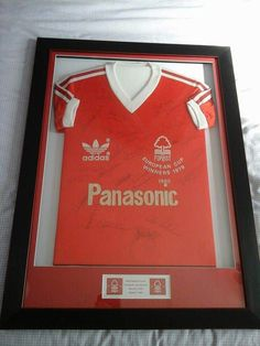My Forest shirt signed by almost all of the squad(and some others ) from the 2 European cup wins but most importantly it's signed by Brian Clough, Peter Taylor and Jimmy Gordon. Sadly all 3 are no longer with us any more. Brian Clough, Nottingham Forest, European Cup, Squad, Shirt, Dress Shirt, Basketball Jersey, Classroom, Shirts