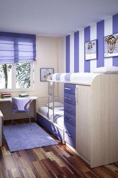 Contemporary Kids Bedroom with KAS Oriental Rugs Bliss Purple Area Rug, Bunk beds, paint2, interior wallpaper, Art desk