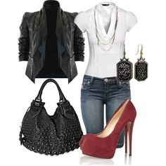 white top, blue jeans, red heels, black jacket, black purse