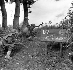 """Men of the 78th Division keep low against German snipers. Notice the sign """"Keep Off The Skyline!"""". Italy, 1943."""