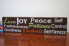 Fruits of the Spirit Sign in Chocolate Brown by FaithArtTransform, $49.00