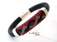 The of - Handcrafted jewelry and more .: Bracelets for him . Loom Bracelet Patterns, Bead Loom Bracelets, Bead Loom Patterns, Bracelet Designs, Crochet Beaded Necklace, Beaded Necklace Patterns, Beaded Jewelry, Leather Jewelry, Handmade Beads