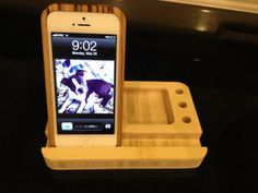 Bamboo iPhone Stand and card holder