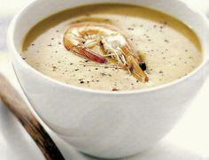 Σούπα Βελουτέ με γαρίδες Fish Soup, Seafood, Food Porn, Food And Drink, Cooking Recipes, Vegetarian, Lunch, Dinner, Tableware