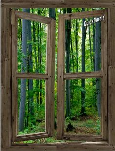 Woodland Cabin Window 1-Piece Peel & Stick CANVAS Wall Mural 36 inch Wide x 48 inch High Quick Murals http://www.amazon.com/dp/B00EZWXCGI/ref=cm_sw_r_pi_dp_AXjRwb18CTYAV
