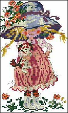 "Free cross-stitch design "" Little girl with dog"" 