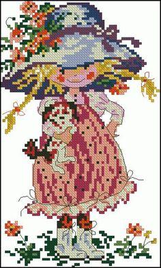 "Free cross-stitch design "" Little girl with dog"" | Cross-Stitch Club"