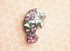 Floral Manatee Pin, manatee enamel pin, floral enamel pin, tattoo pin, manatee…