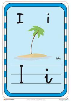 Recursos para el aula: Tarjetas del abecedario Tarjetas con todas las letras del abecedario, con imagenes para repasar con los Teaching The Alphabet, Color, Homeschooling, Origami, Ideas, Learning Letters, Read And Write, Learning Spanish, Alphabet Cards