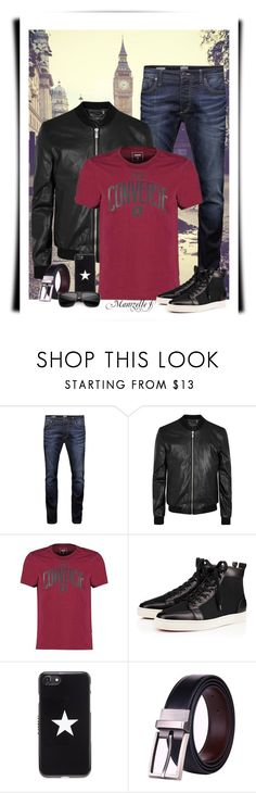 """""""Trip in London"""" by mamzelle-f ❤ liked on Polyvore featuring Jack & Jones, BLK DNM, Converse, Christian Louboutin, Givenchy, men's fashion, menswear, converse and men"""