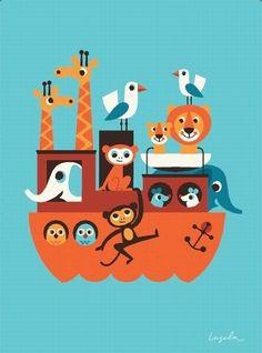 """Poster """"ARCHE NOAH"""" - Ingela P. Arrhenius    Dieses hübsche Poster der schwedischen Künstlerin Ingela P Arrhenius ist nicht nur im Kinderzimmer ein toller Blickfang!"""