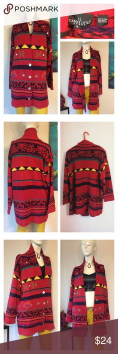 """Vtg Colorful 90's Geo Knit Long Cardigan Sweater Love this sweater!!! marked size medium - fits oversized small to Large.  Removable shoulder pads. One button has broken off  Beads & embroidery & lots of colors!  Great vintage condition!!! Approx measurements laid flat-(double where necessary) Shoulder to shoulder: 21"""" Underarm to underarm: 22"""" Waist: 21.5"""" Hips: 22.5"""" Shoulder to hem: 29.5"""" Sleeve: 18.5"""" I ship items everyday at 1 pm.  Thanks!!! Carole Little Sweaters Cardigans"""