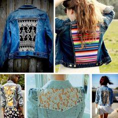 DIY jean jacket - hmm, now I'm envisioning a denim jacket that incorporates Seminole patchwork Diy Clothes Refashion, Diy Clothing, Sewing Clothes, Diy Vetement, Diy Clothes Videos, Denim Ideas, Denim Crafts, Diy Fashion, Fashion Design