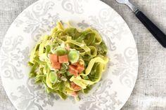 La versatilidad del salmón. Pasta fresca con salsa de puerro y salmón. © Cortesía de Libélula Catering.