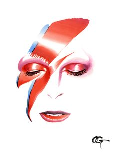 #David_Bowie #OHGUSHI #Fashion_illustration #portrait_painting #watercolor…